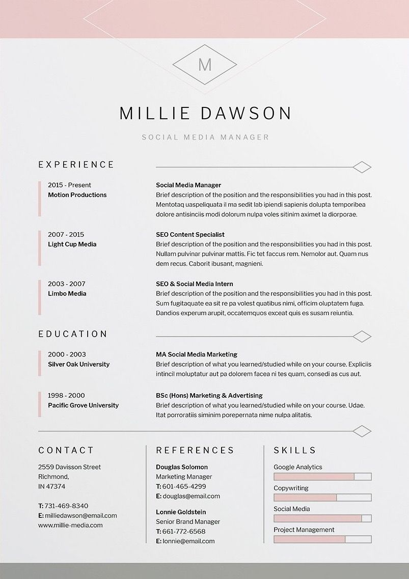 Millie Resume CV Template Word shop InDesign Professional Resume Design Cover Letter Instant Download