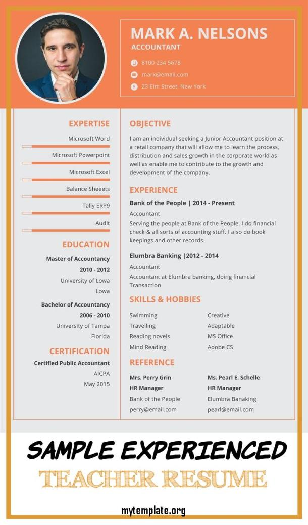 10 Sample Experienced Teacher Resume Free Templates