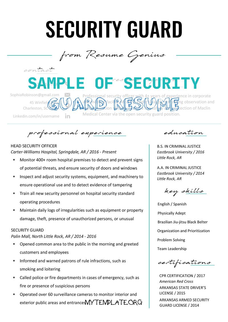 9 Sample Of Security Guard Resume Free Templates