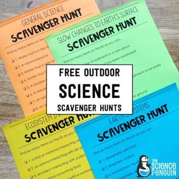 Outdoor Science Scavenger Hunts for 2nd 3rd 4th and 5th grade