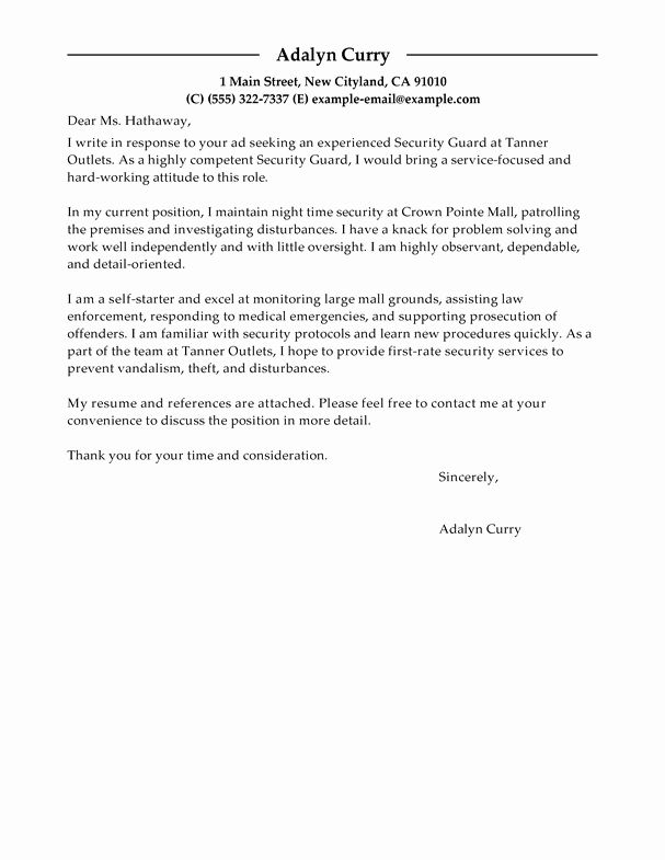 Cover Letter for Security Job Elegant Best Security Guard Cover Letter Examples