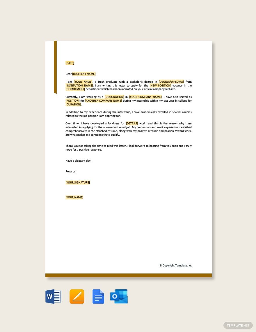 FREE Simple Job Application Letter Template for Employment Word DOC Apple MAC Pages