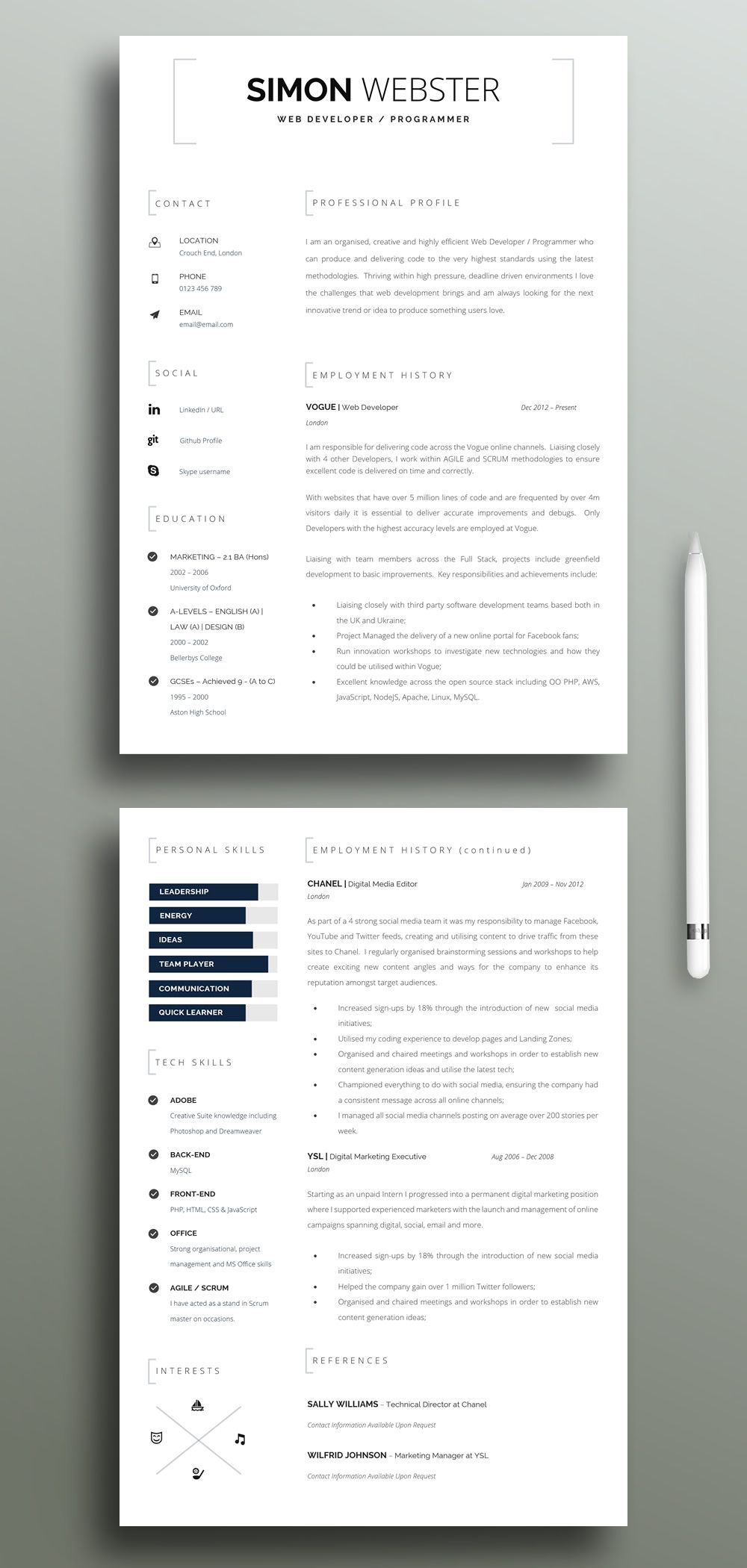 Reverse Chronological Resume with Cover Letter Template