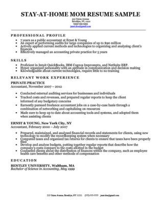Stay At Home Mom Resume Sample & Writing Tips