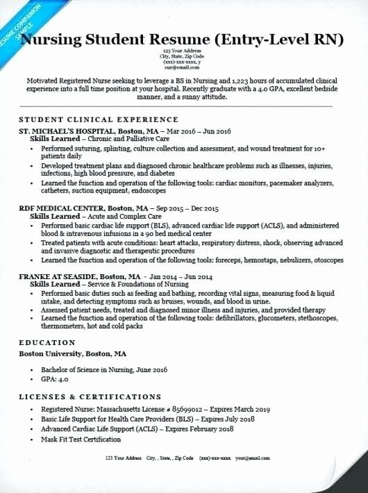 Entry Level Nurse Resume Elegant Examples Nurse Resumes Nurse Resume Samples Beautiful
