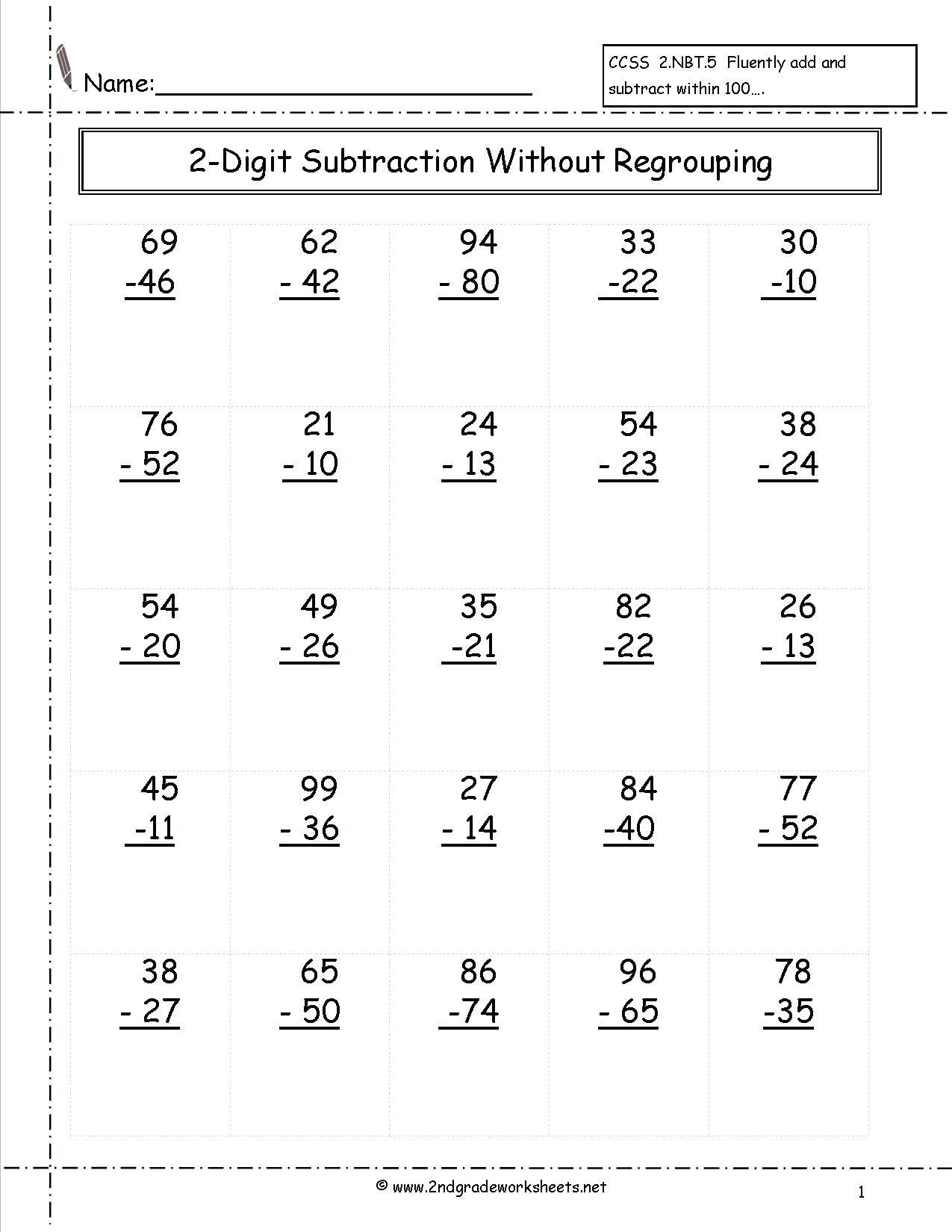 Subtraction Worksheets For Grade 1 Of 5 Free Math