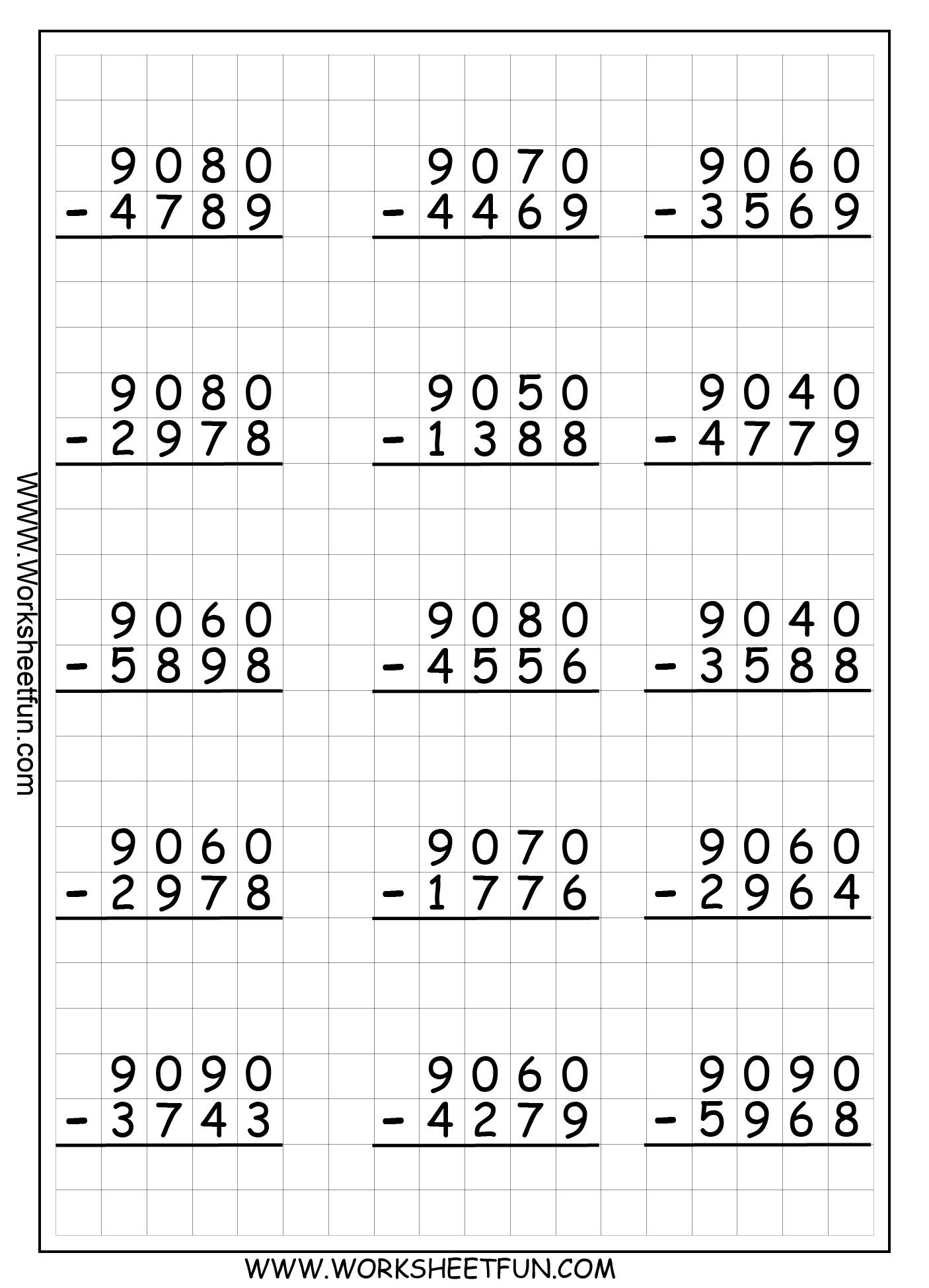 9 Subtraction Worksheets for Grade 1 - Free Templates [ 1950 x 1406 Pixel ]