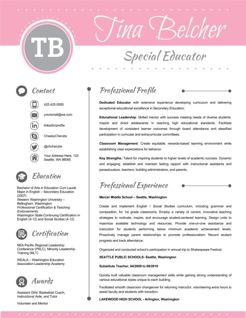 Resume Template Cover Letter and Reference EDITABLE Pink Light Gray