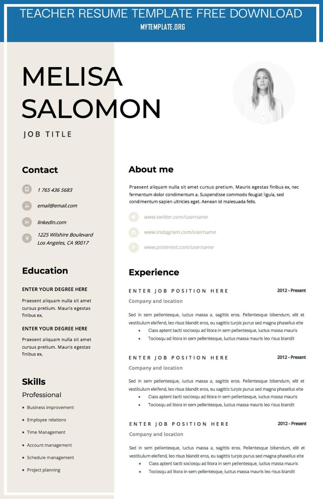 10 Teacher Resume Template Free Download Free Templates