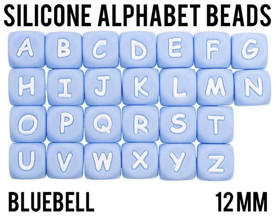 Bluebell A Z Silicone Alphabet Cube Beads 12 mm square Bulk Silicone Beads Wholesale DIY Jew