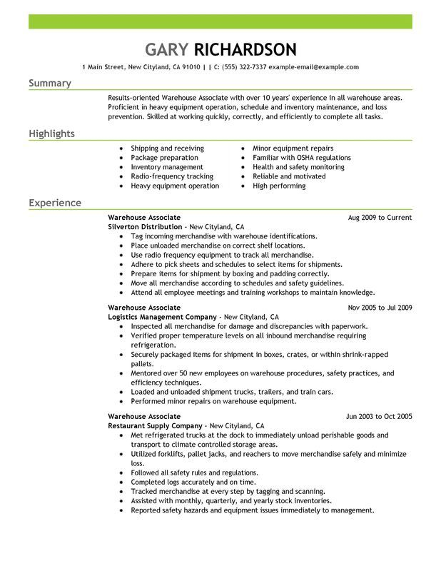 Warehouse Associate Resume Examples Created by Pros