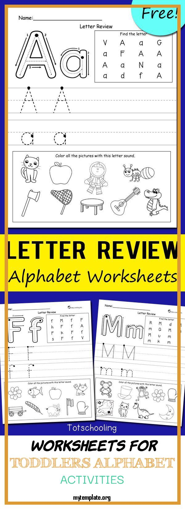 9 Worksheets For Toddlers Alphabet Activities - Free Templates