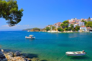 Skiathos town bay in Summer