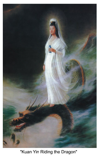 Image of Kuan Yin riding the Dragon.