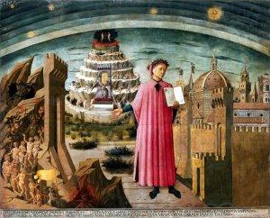 Dante Alighieri and the allegory of the Divine Comedy and the town of Florence, Domenico di Michelino, 1465