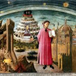 Dante Alighieri and the allegory of the Divine Comedy and the town of Florence, Domenico di Michelino, 1465