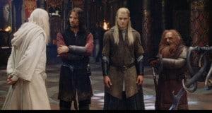 Gandalf., Aragorn, Legolas und Gimli in Edoras