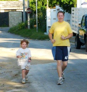 Mom and baby running