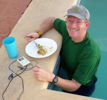 Eating breakfast in pool