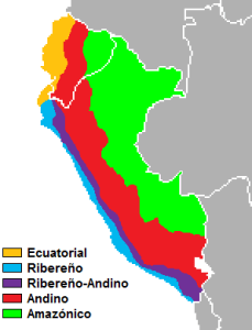 Graphic of various Spanish dialect regions in Peru