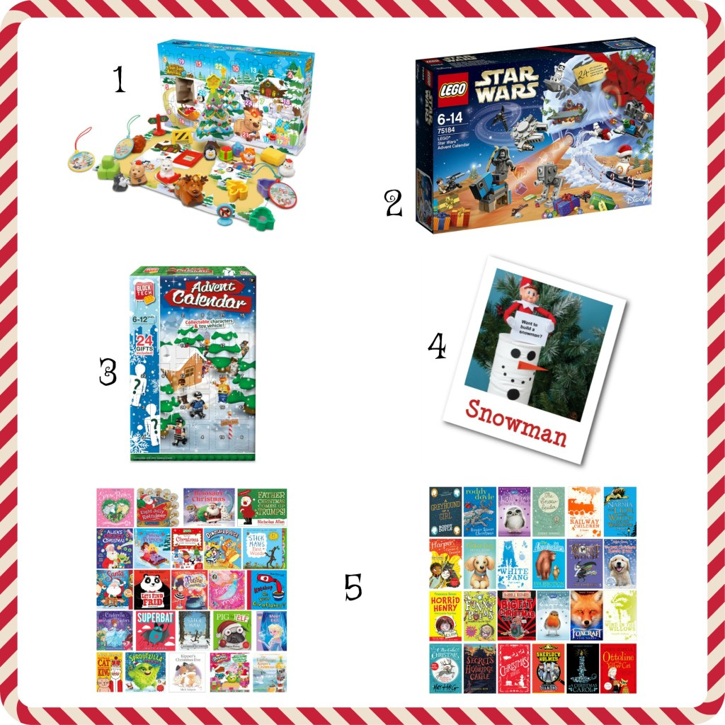 Five advent calendars for children. From left to right Vtech Toot Toot Animals, Star Wars Lego, Aldi Blocks, Elves Behavin badly and book advent
