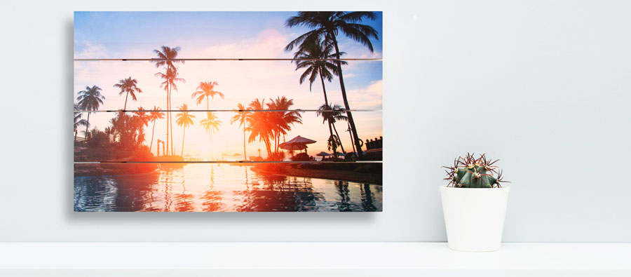 palm trees at sunset image on a wooden picture canvas