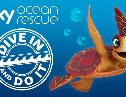 A cartoon sea turtle on a blue background with the words Sky Ocean Rescue - Dive In and Do It in a circle
