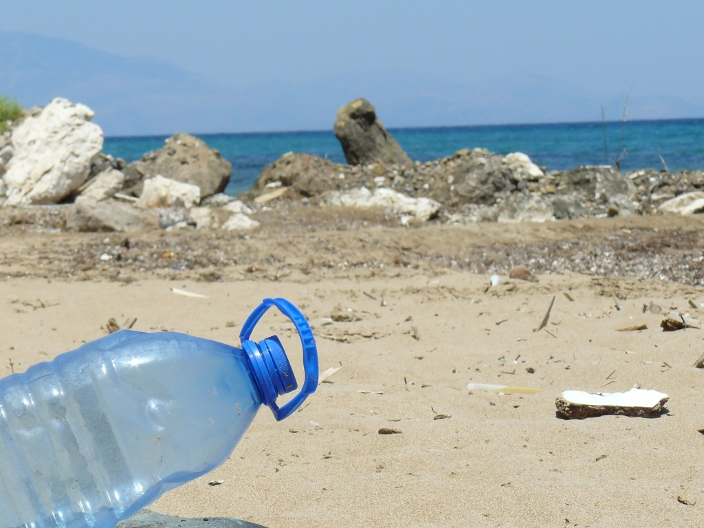 blue plastic bottle on a beach