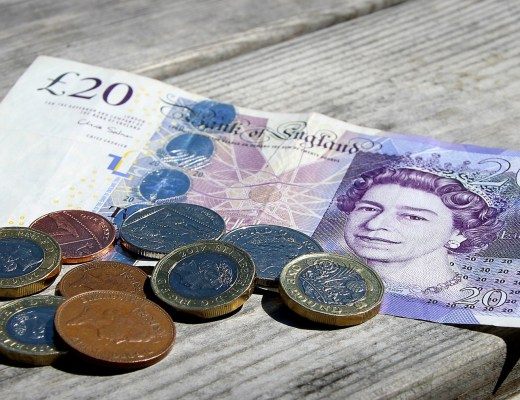 British money on a table