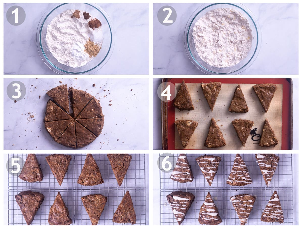 Step by step images of making gingerbread scones: mix dry ingredients, work in butter and stir in candied ginger, form dough, cut, bake and glaze.