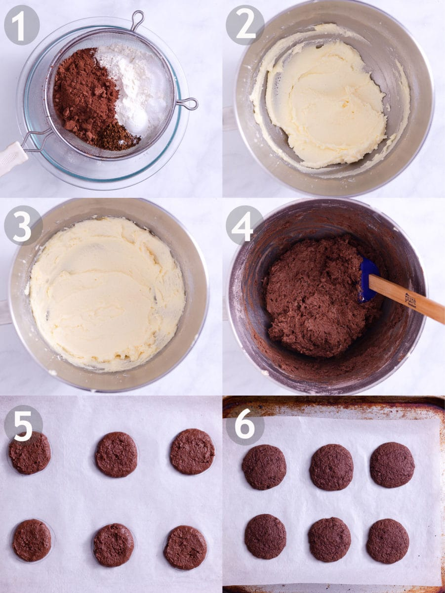Step by step of making Chocolate Peppermint Whoopie Pies: sift dry ingredients, cream sugar and butter and add egg, mix wet and dry ingredients, shape and bake.