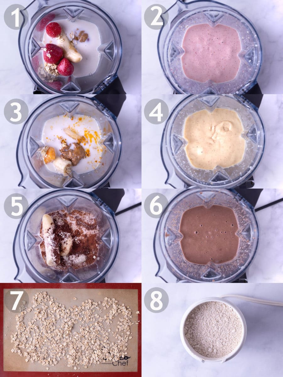 Step by step of making three oat smoothies: strawberry banana, turmeric coconut mango, chocolate peanut butter, and toasting and grinding oats