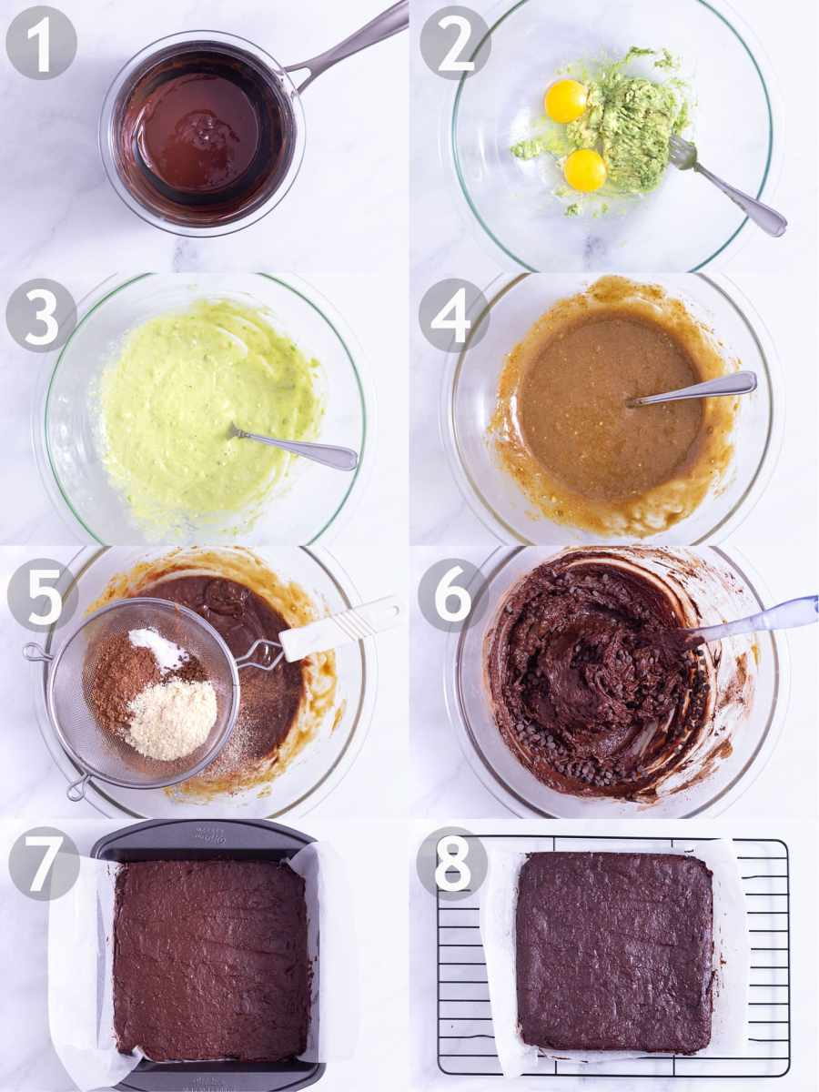 Overhead view of steps to make dairy free, gluten free brownies: melt chocolate, mash avocados, whisk with coconut sugar, stir in chocolate, sift over and mix in dry ingredients, stir in chocolate chips and bake.