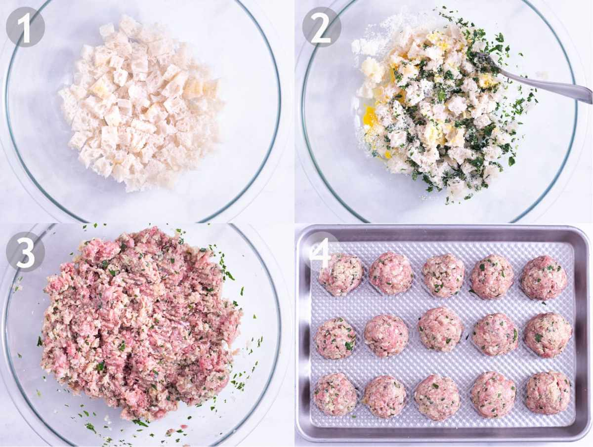 Steps of making Italian meatballs: soak bread, combine eggs, bread, cheese, garlic and parsley, add ground meats and roll into balls.