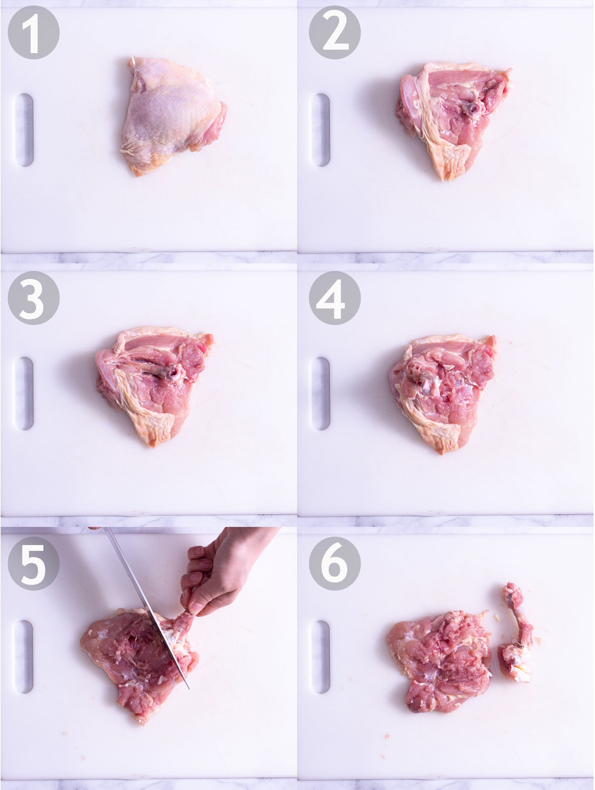 Step by step process of deboning a chicken thigh: make a slit in skin above bone, scrap flesh away from bone and cut away at joint.