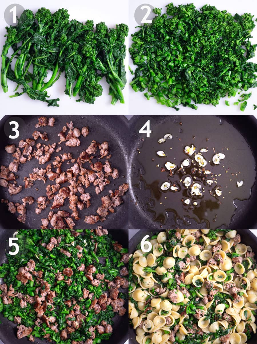 Steps to make orecchiette: blanch and chop broccoli rabe, brown sausage, saute garlic, mix with pasta and cheese.