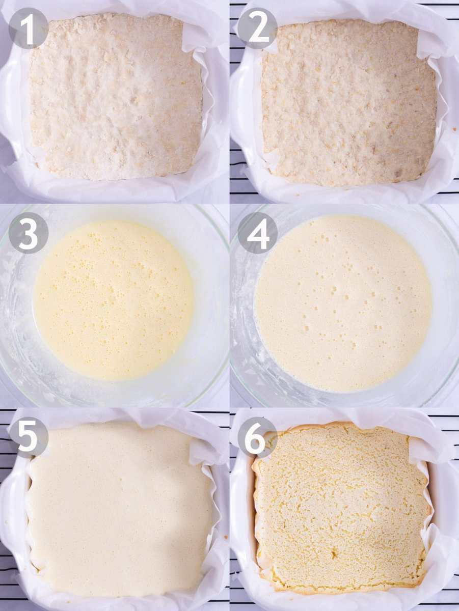 Steps to make lemon bars: bake crust, mix eggs and sugar, add lemon and dry ingredients, and bake.