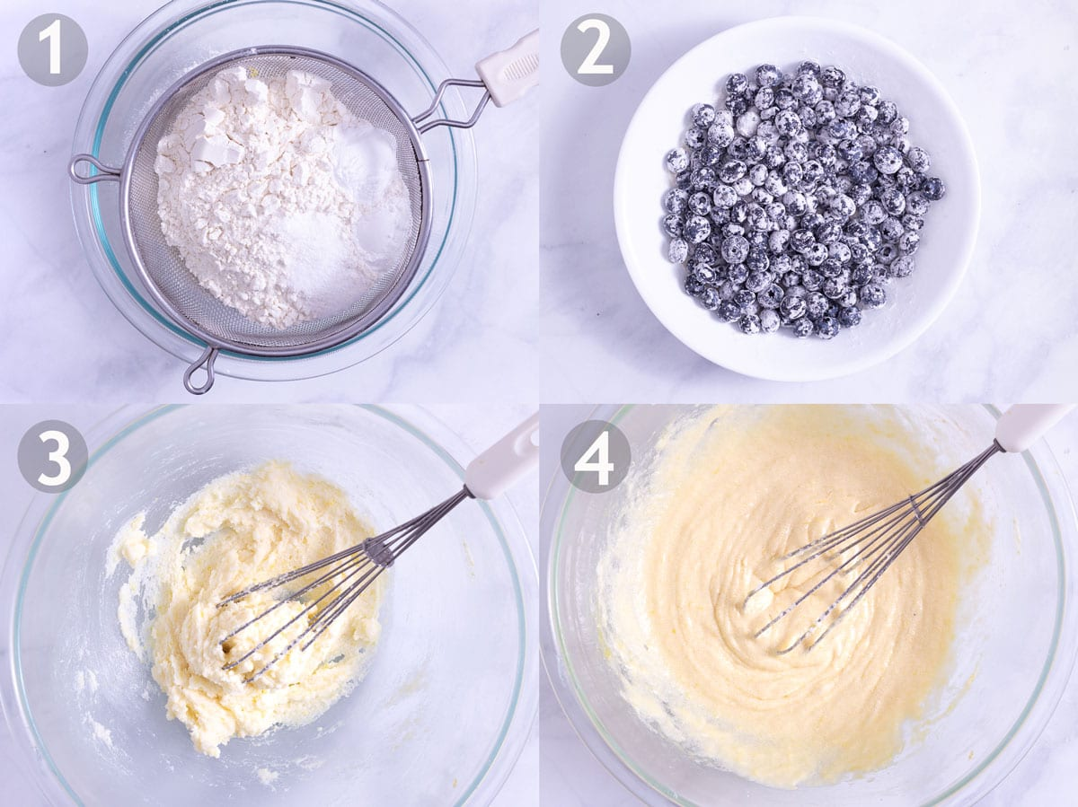 First 4 steps to make blueberry muffins: whisk dry ingredients, beat butter, sugar and eggs.