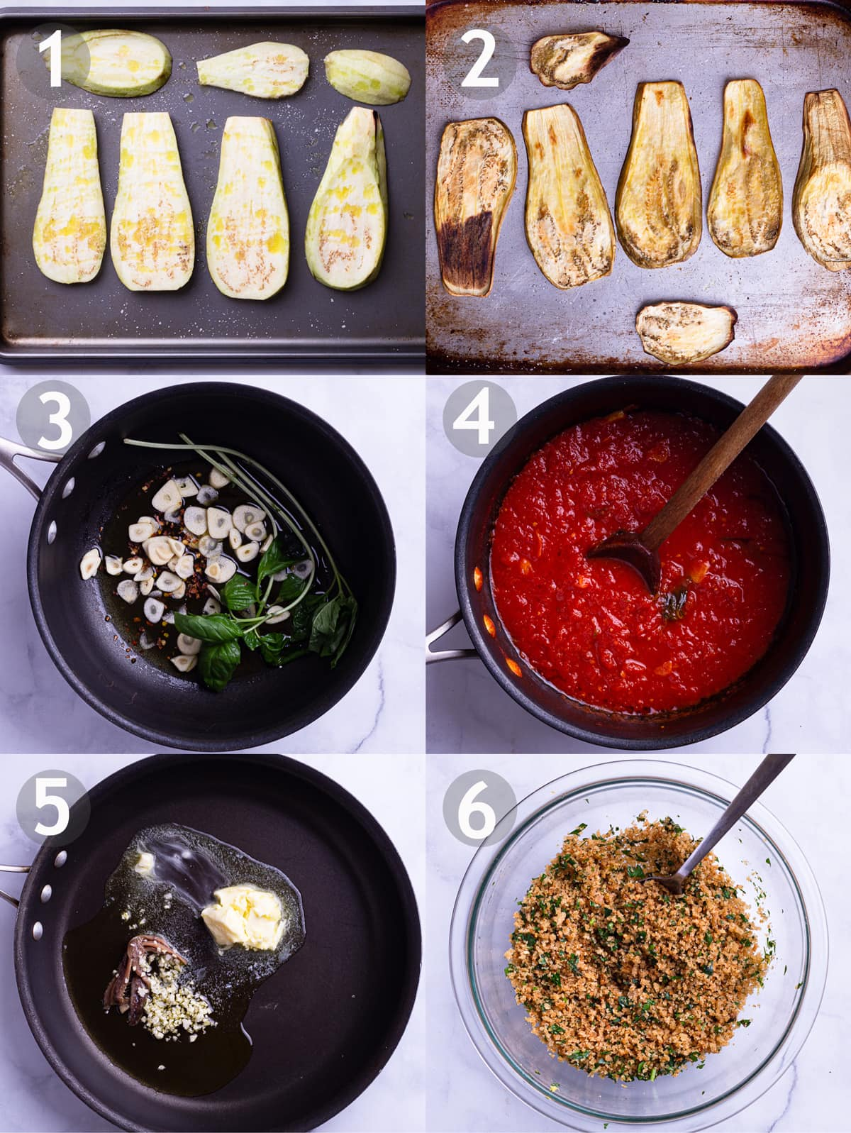 6 step by step photos showing how to roast eggplant, make a tomato basil sauce and make the garlic butter breadcrumbs.