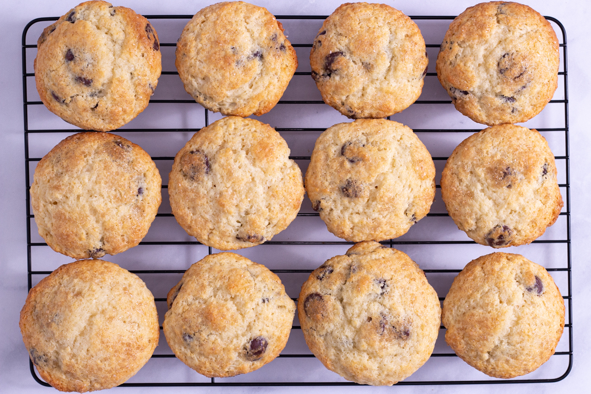 Overhead view of Chocolate Chip Muffins on a cooling rack on a marble surface.