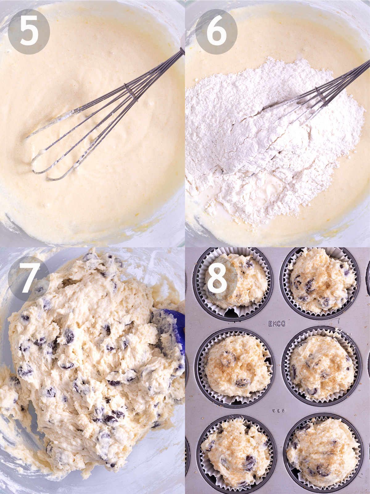 Last 4 steps to make chocolate chip muffins including, mixing all wet ingredients, adding dry ingredients and chocolate chip and scooping batter into baking tin.