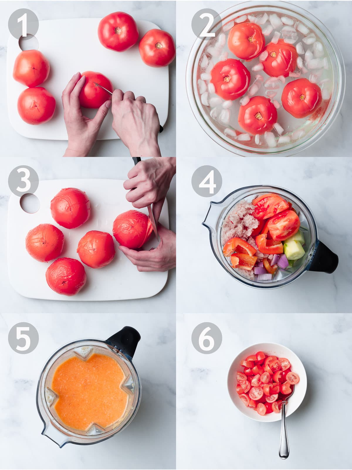 Steps to making a gazpacho including scoring, blanching, shocking and peeling tomatoes, and pureeing all ingredients in a blender.