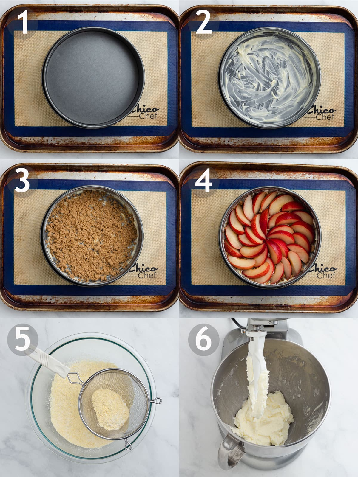 Steps to making cake including adding butter, sugar and plums to bottom of pan, sifting dry ingredients and creaming butter and sugar.