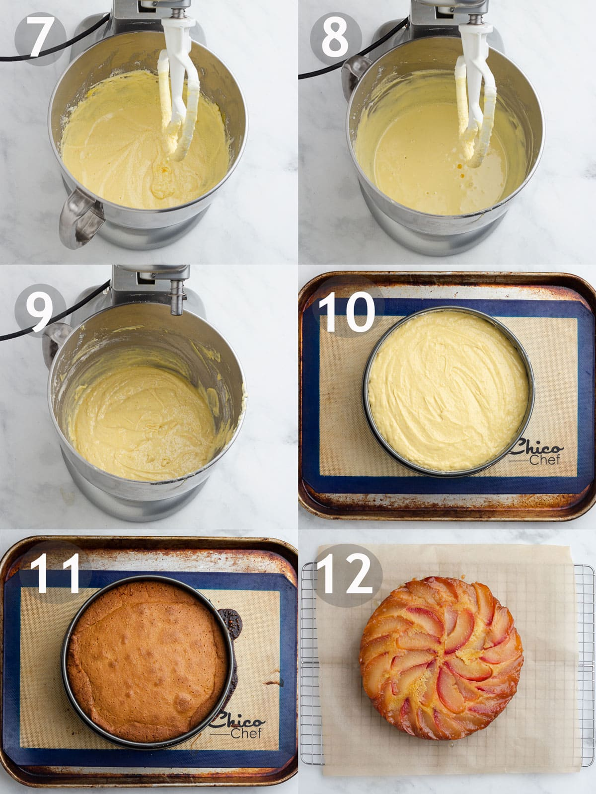 Steps to make cake including mixing wet ingredients, adding dry ingredients and baking cake.