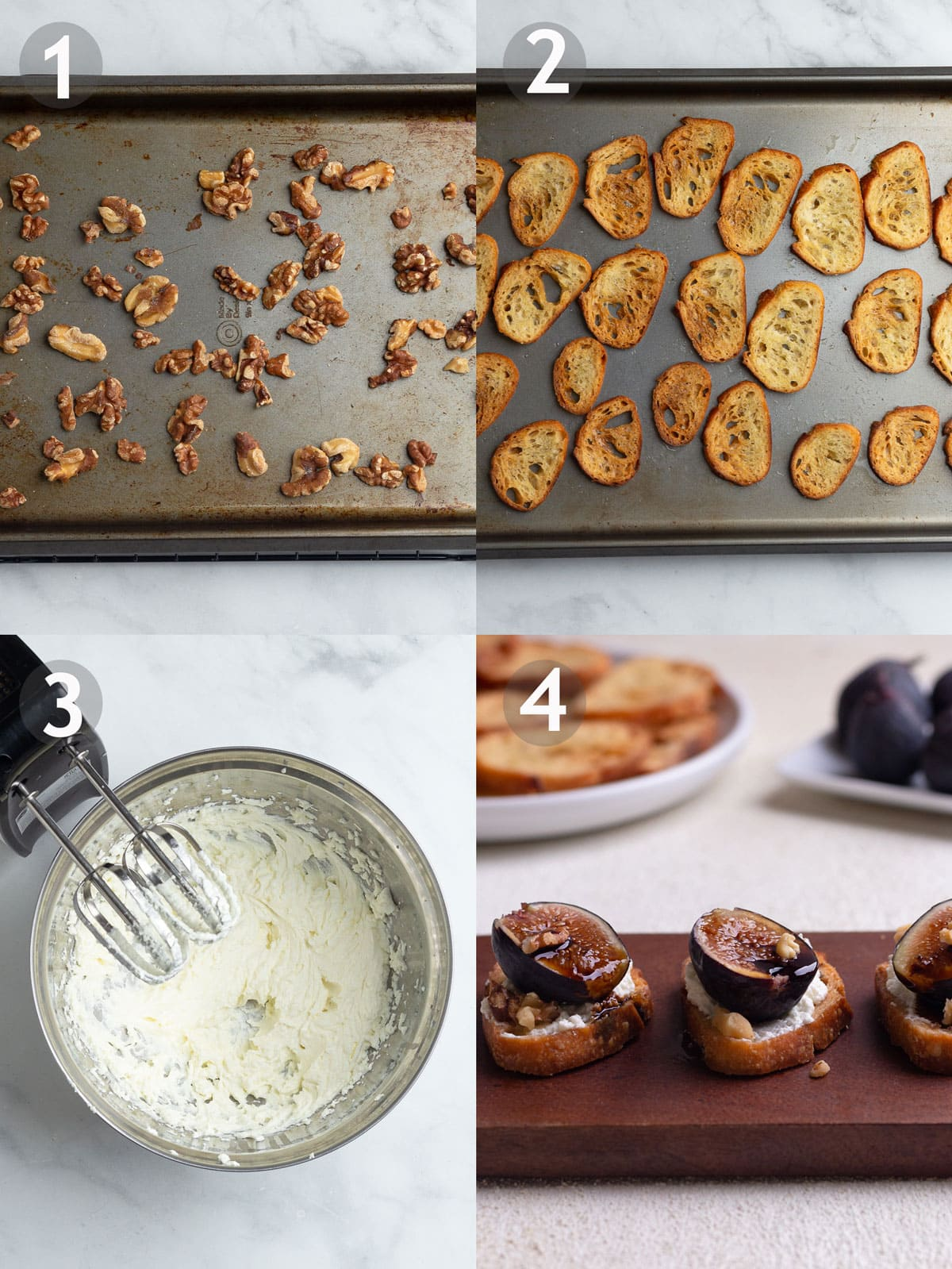 Recipe Steps including toasting walnuts, toasting crostini, whipping goat cheese and assembling crostini.