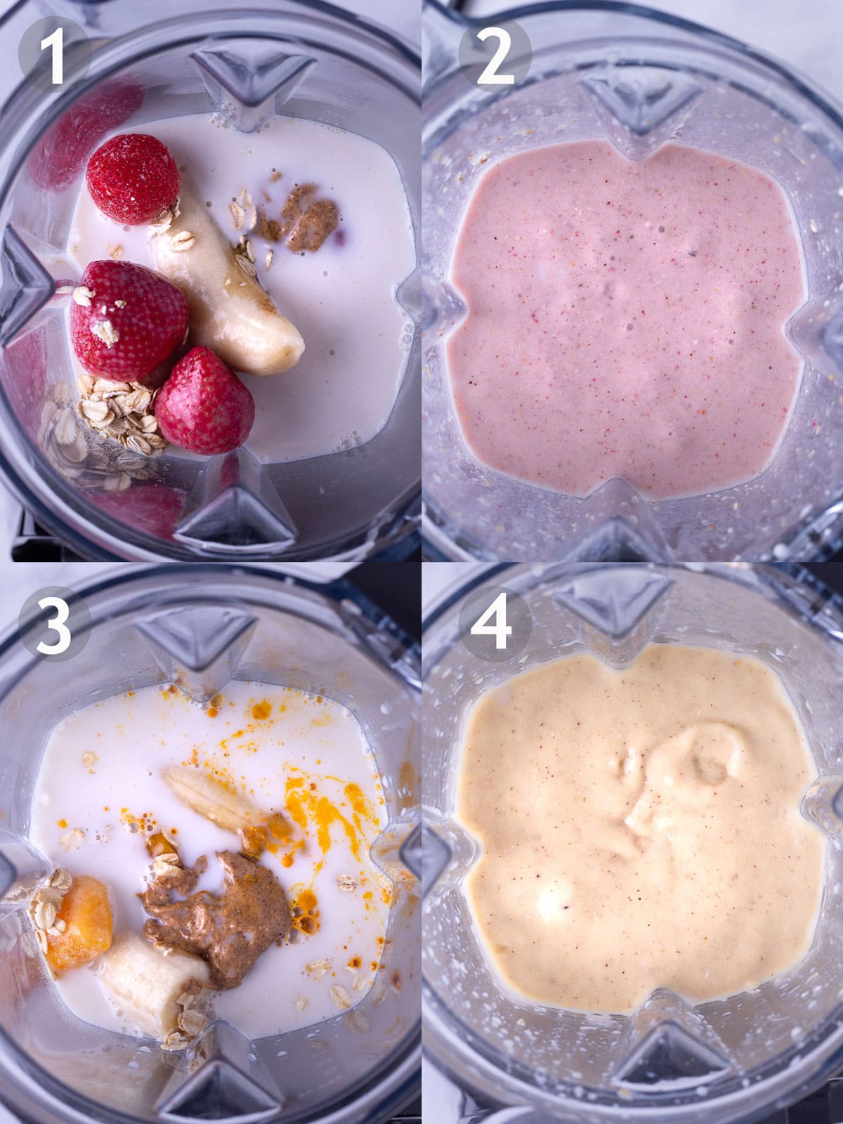 Before and after photos of blending ingredients for strawberry banana oat smoothie and mango turmeric oat smoothie.