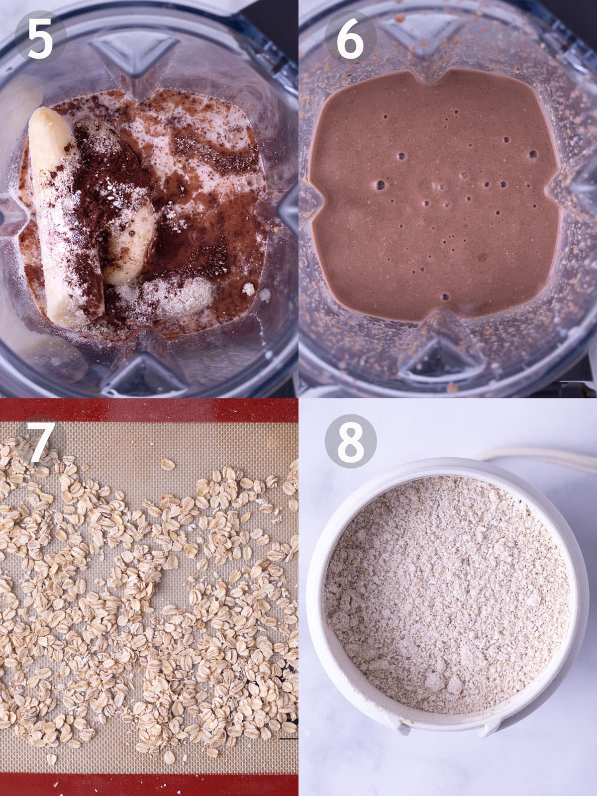 Before and after photos of blending ingredients for chocolate peanut butter banana oat smoothie and toasting and grinding the oats.