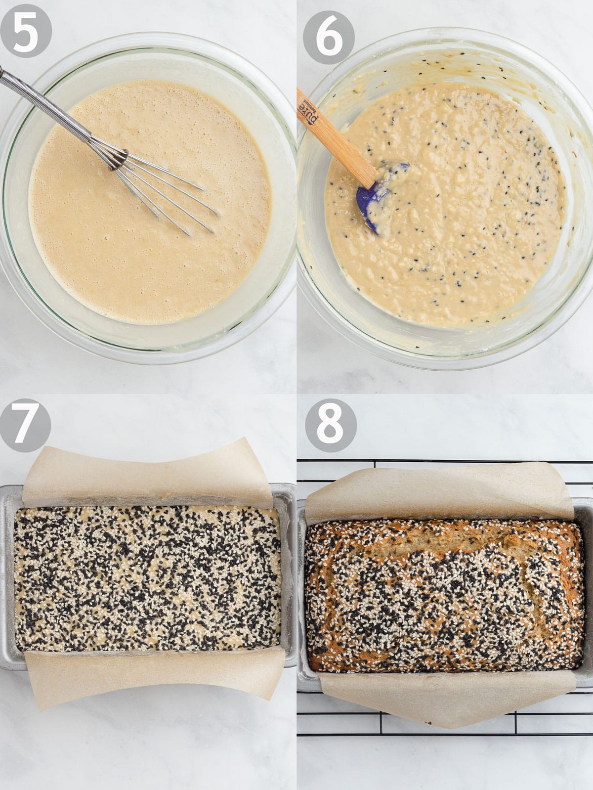 Banana bread steps including combining the wet and dry ingredients and baking the loaf.