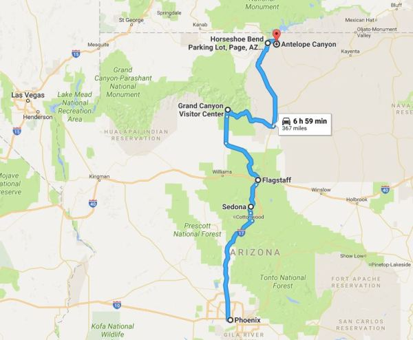Arizona road trip map for a perfect long weekend getaway