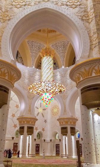 Smaller Swarovski studded Chandelier on the side inside Grand Mosque in Abu Dhabi